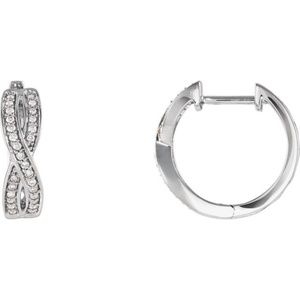 14K White 1/5 CTW Diamond Infinity Hoop Earrings